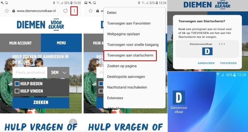 afbeelding over hoe je de webapp toevoegt op een Android toestel